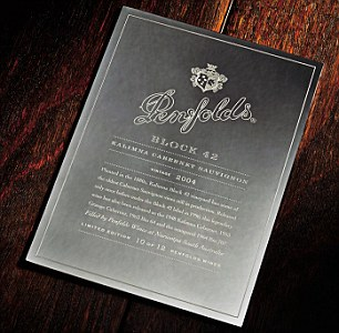Penfolds is only producing 12 Block 42s. Each of the 12 comes with an engraved plaque detailing the wine's pedigree