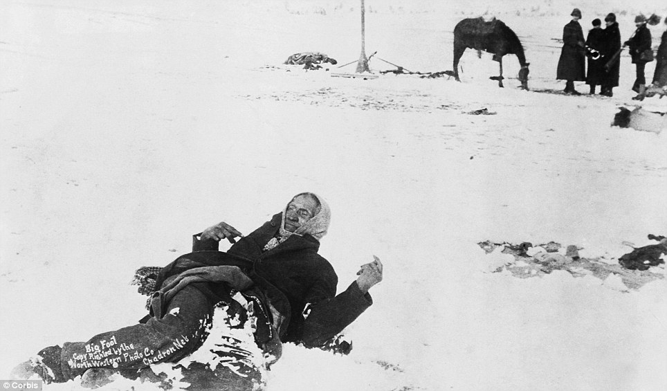 Wounded Knee, South Dakota, USA --- Big Foot, leader of the Sioux, captured at the battle of Wounded Knee, South Dakota.  Here he lies frozen on the snow-covered battlefied where he died. 1890