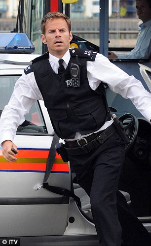 Screen star: Ben as Bruno in Footballers' Wives with Helen Latham as Lucy and (right) in action as PC Nate Roberts in The Bill