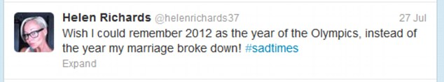 'Sad times': Helen then said she would always remember 2012 as 'the year my marriage broke down'