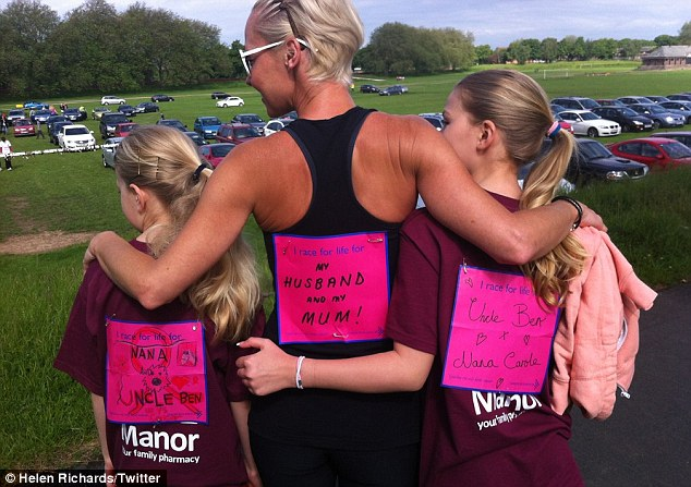 Charity campaigner: Helen ran the Race For Life to raise money for charity for Ben last month