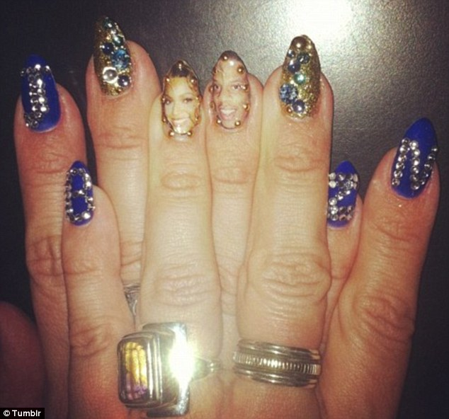 Family comes first: Beyonce posted a picture of nail portraits of herself and Jay-Z on her Tumblr page