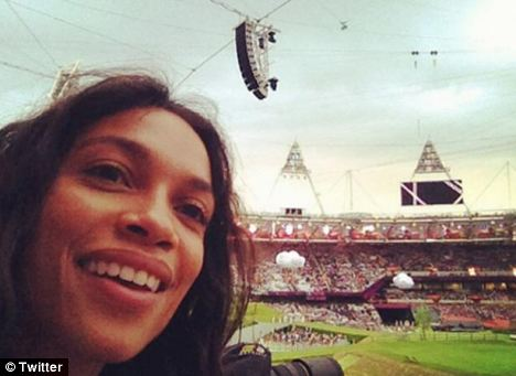 Rosario Dawson tweeted as picture of herself as the opening ceremony was about to go ahead