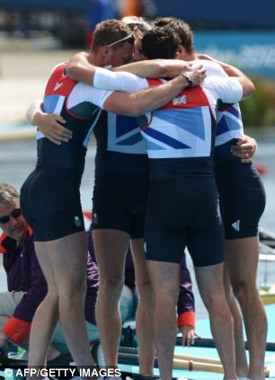 Great Britain's Alex Gregory, Pete Reed, Tom James and Andrew Triggs Hodge embrace