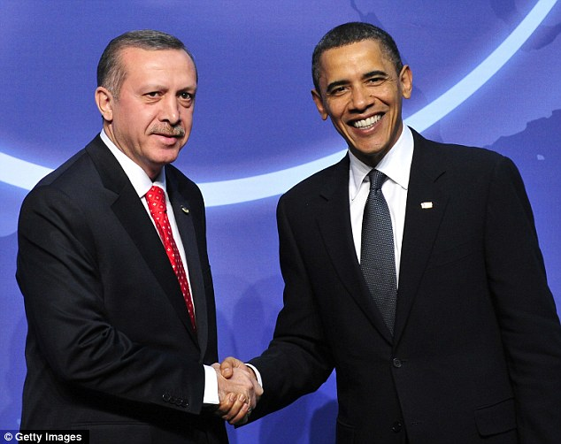 Close allies: Prime Minister Erdogan, left, and President Obama, right, have been working together to resolve the crisis in Syria