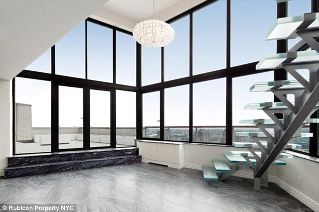 Ol' Blue Eyes: The duplex apartment at 530 East 72nd Street, pictured, has been recently renovated