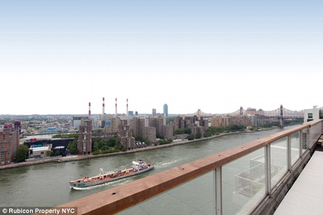 East River: The apartment boasts two wraparound terraces totaling 2,000 sq ft, pictured