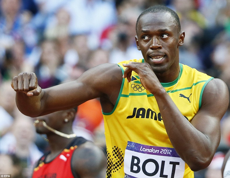 Fighting fit: Usain Bolt, who had been troubled by a hamstring injury, claimed he was only 95 per cent fit but he looked in fine condition before the eagerly awaited final
