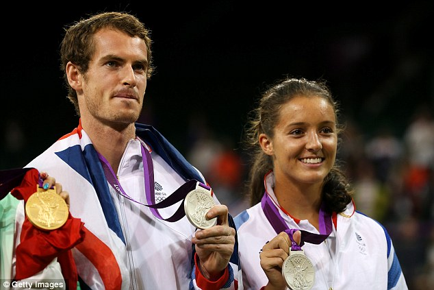 The real deal: Andy Murray (left) and Laura Robson (right) won silver medals in the mixed doubles