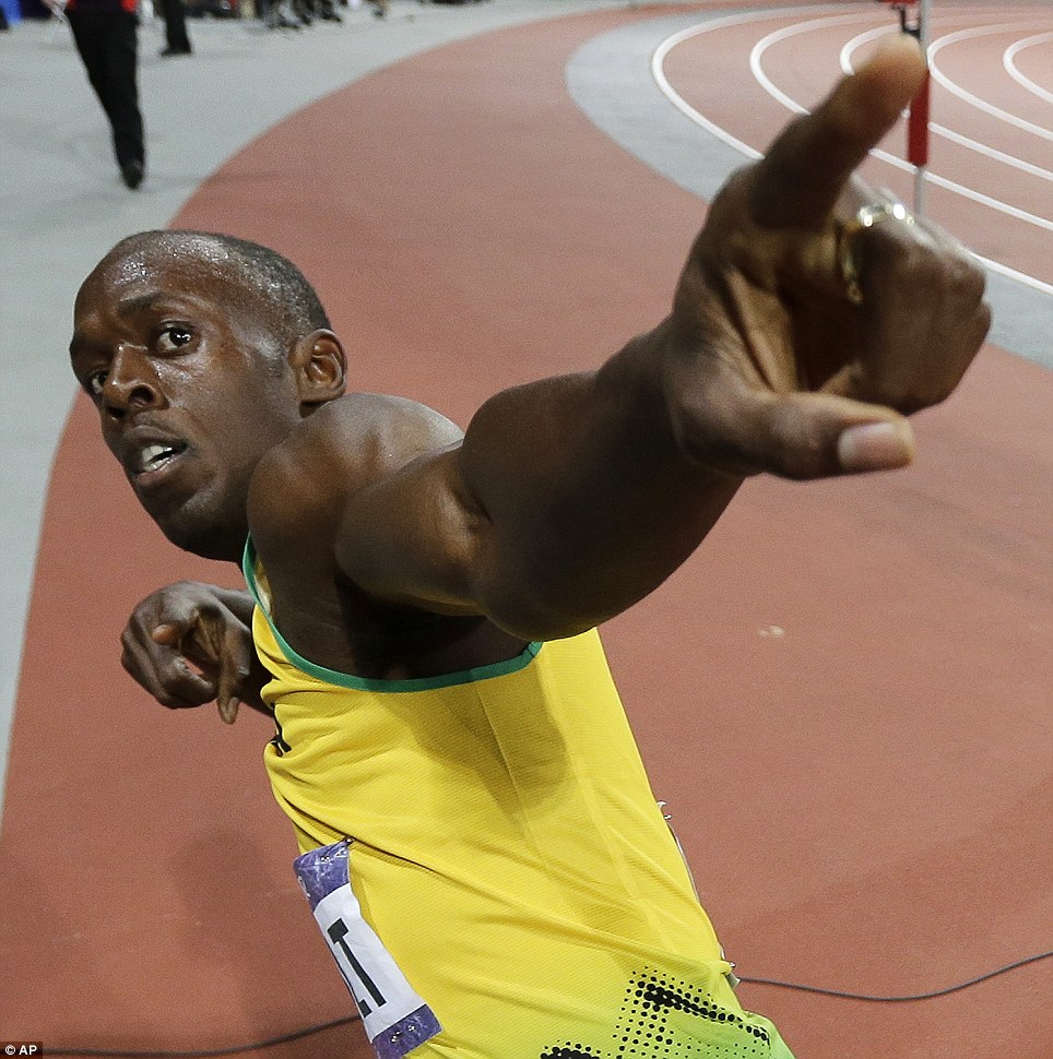 Points ahead: Usain Bolt proved his doubters wrong and retained the Olympic 100m title he first won in Beijing in 2008