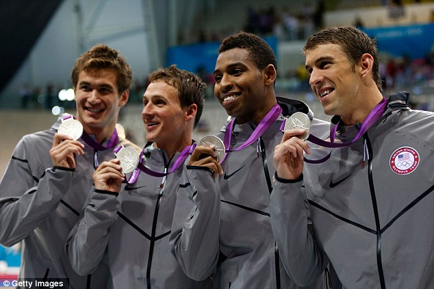 Olympians: (L-R) Adrian Nathan, Ryan Lochte, Cullen Jones and Michael Phelps of the United States pose with the silver medals won during the Men's 4 x 100m Freestyle Relay final on Day 2 of the London 2012 Olympic Games