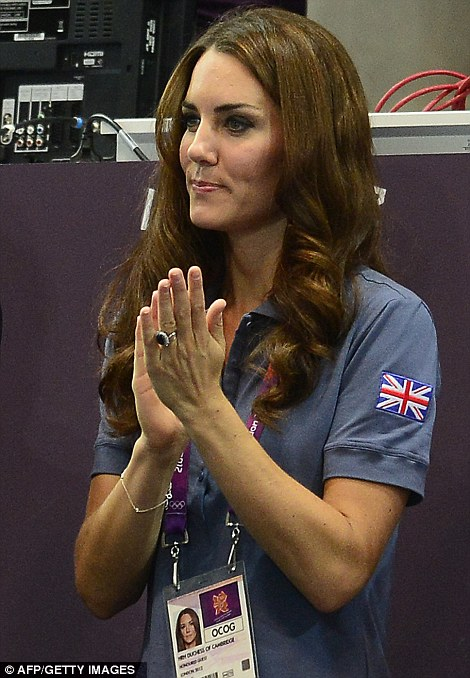 She also supported Britain's handball team at the women's preliminary Group A handball match Croatia vs Great Britain