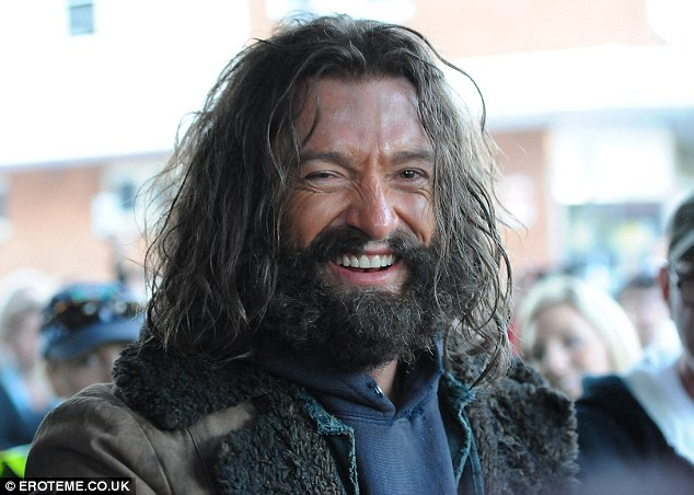 Bushy beard: The actor starting filming the movie last week, and Hugh showed off his bushy beard and long bedraggled hair in all of its glory