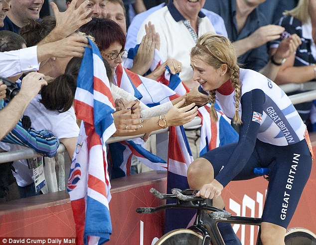 Triumph: Double Olympic champion Laura Trott celebrates winning her second gold medal at London 2012