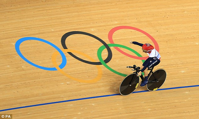 Moment of glory: Trott celebrates winning the time trial in the final race of the women's omnium