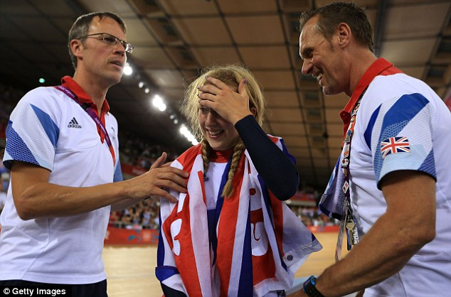 Tears of joy: Trott won her second gold of the Games in the omnium on Tuesday evening