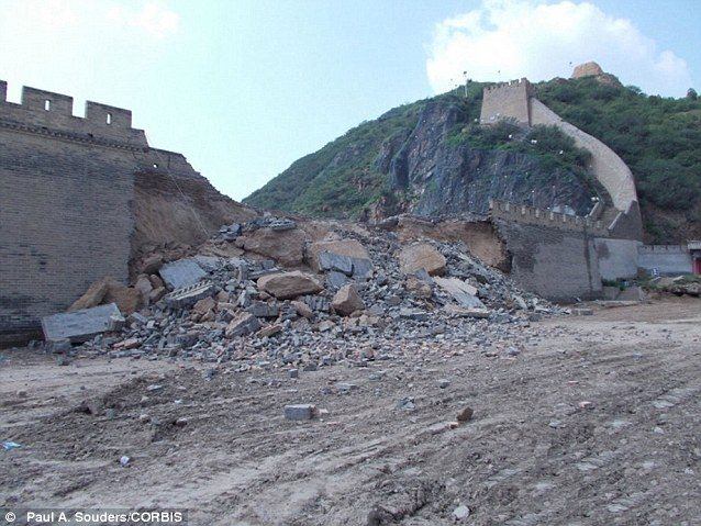 Gone: A massive section of the centuries-old Great Wall of China has collapsed after bungling workmen in northern China dug up a city square in front of it