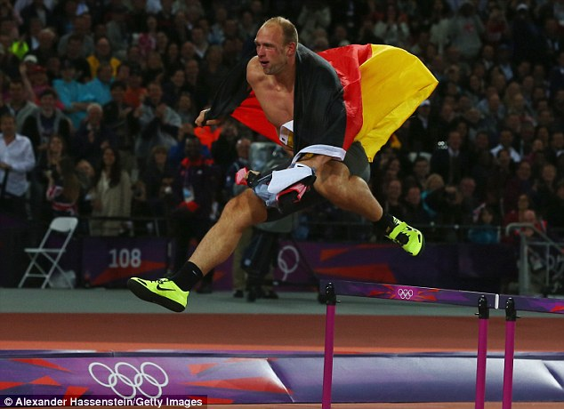 No stopping me: Harting went on from his impromptu hurdles vault to a drinking session on a German cruise liner, before falling asleep on a train and having his bag stolen
