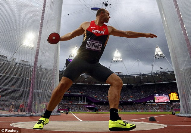 Harting's throw of 68.27m - the width of a football pitch - saw him crowned Olympic champion for the first time