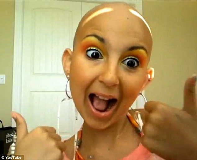 Fiery fighter: Talia Joy Castellano, 12, has been fighting cancer for five years, but has turned her harrowing story into an inspiration for thousands of young girls who tune into the teen's make-up tutorials