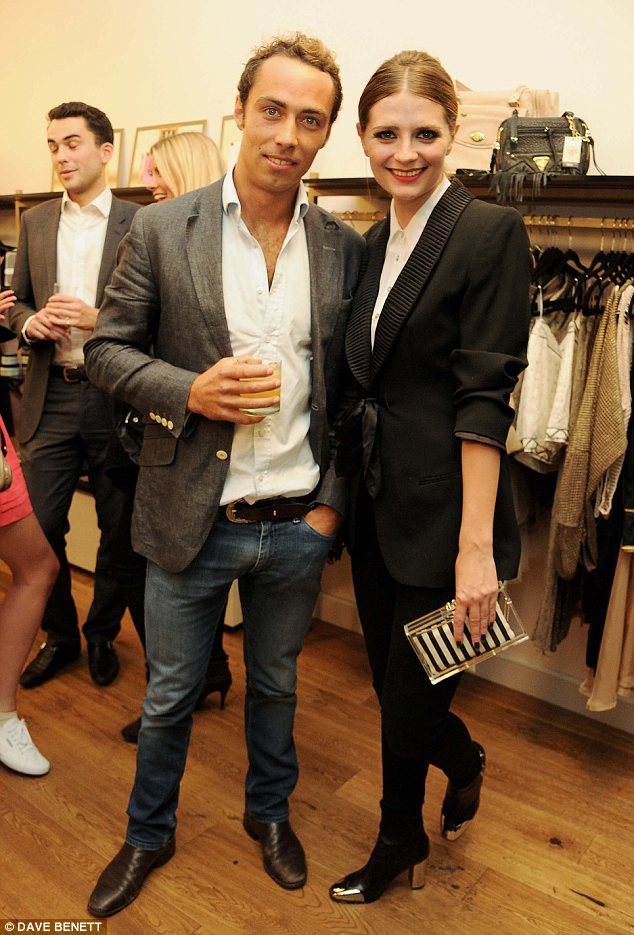 Connected: Mischa Barton poses with Kate's brother James Middleton at the launch of her flagship store in Old Spitalfields Market