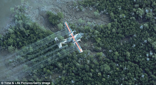 plane spraying delta area with dioxin-tainted herbicide, the defoliant Agent Orange