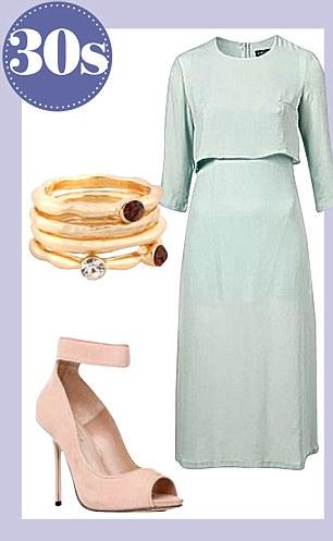 Sister Jane dress, £69, topshop.com, ring set,  £3.90, forever21.com,  ankle-strap shoes, £130, kurtgeiger.com
