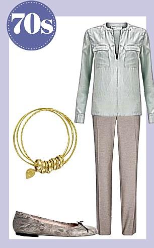 Trousers, £110, reissonline.com, blouse, £95, whistles.co.uk, bangle set, £30, johnlewis.com, shoes, £99, jigsaw-online.com