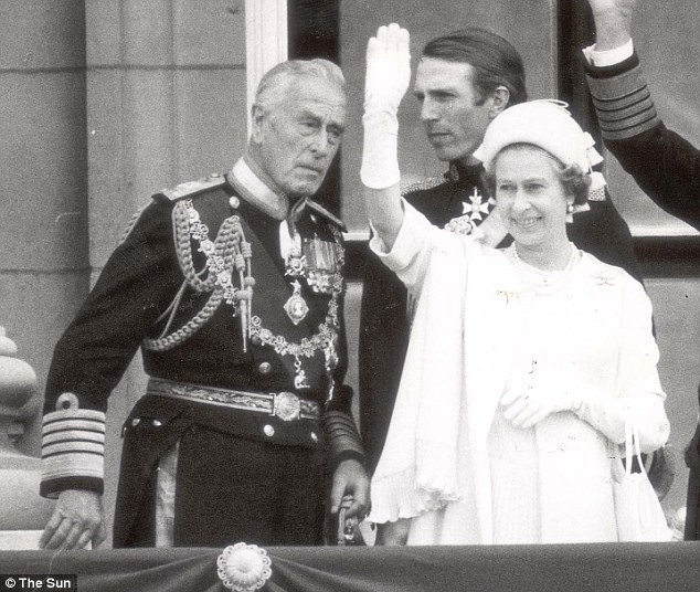 Royal blood: Lord Mounbatten pictured with Queen Elizabeth II on the balcony of Buckingham Palace during her silver jubilee celebrations in 1977
