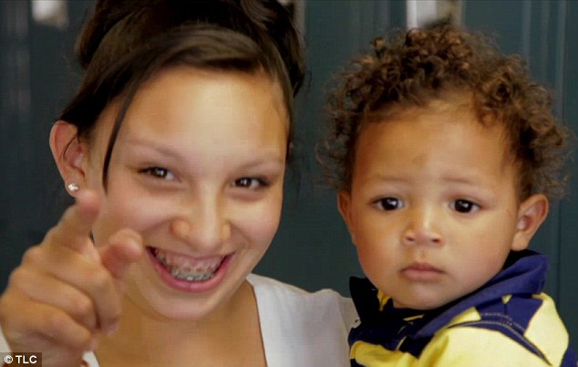 Young moms: A new reality show will focus on a Colorado high school that caters for pregnant teens and young mothers alone. Londisha (left) is a tenth grader, with braces, who has a son of her own (right)