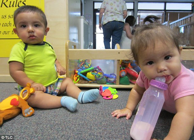 Precious: Babies are able to be cared for in the school's day care facilities, above, as mothers attend class