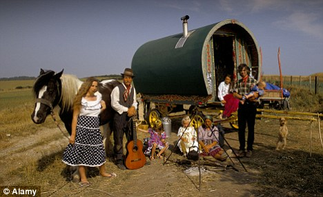 Traditional Romany gypsies. Collins claimed to be the widow of a Romany prince