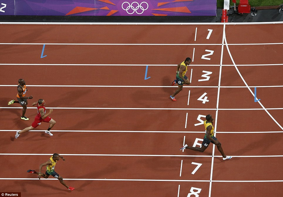 Jamaica 123: Bolt eased over the line in a time of 19.32, followed by Blake and Warren Weir, making it a Jamaica 1-2-3
