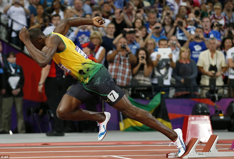 And away! Bolt's start set the tone for his race, the fourth fastest 200m in history