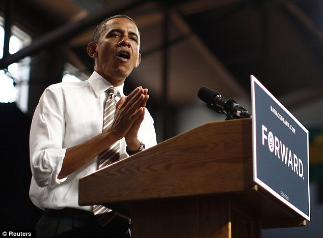 Refusal: The re-election campaign of President Obama, pictured today at a campaign rally in Colorado, has not asked Priorities USA Action to pull the ad