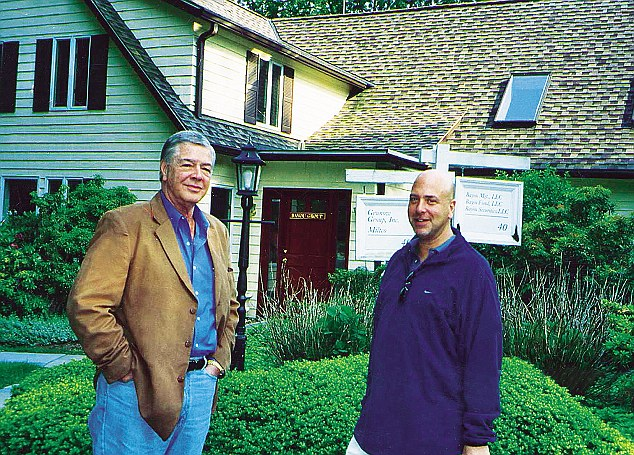 Robert Booth Nichols and Israel outside the Bayou offices in Stamford, Connecticut. Nichols was a conman, whose house of mirrors made Israel's own Ponzi scheme seem tiny in comparison