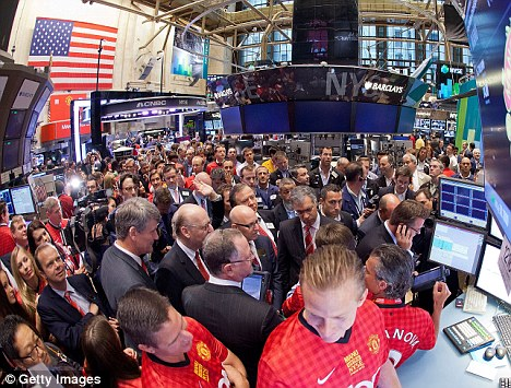 Shares in the world's most famous football club made a flat stock market debut on Friday.