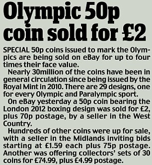 Olympic 50p coins issued to mark London 2012 are being sold on eBay for up to four times their value