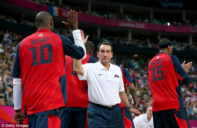 Put it there! Mike Krzyzewski (right) high-fives Kobe Bryant during their semi-final match against Argentina
