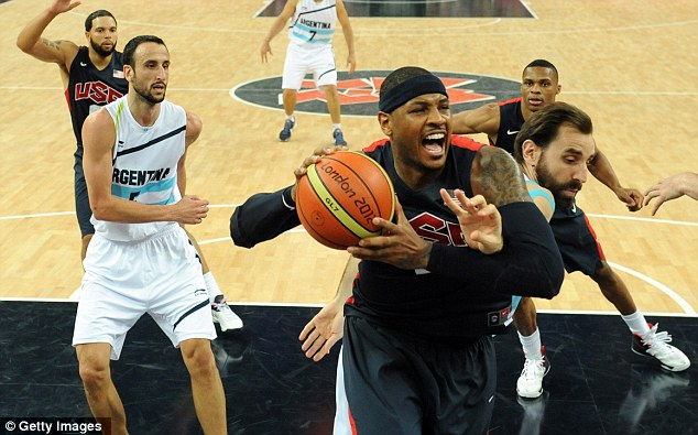 Try and stop us: Carmelo Anthony will hope to rack up a few points against Spain