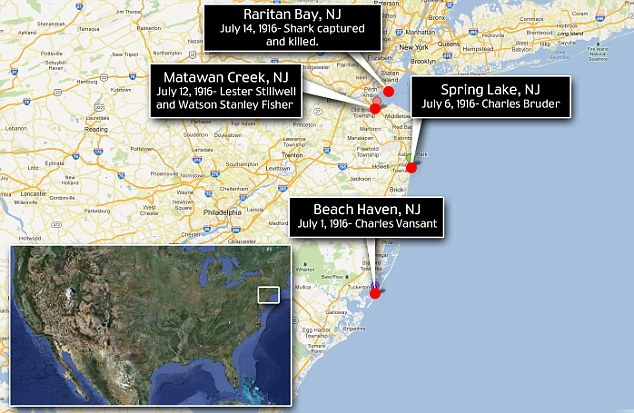 Trail of fatalities: Traveling up New Jersey's coast, five people were attacked by the shark, four fatally, before its believed kill on July 14 in Raritan Bay