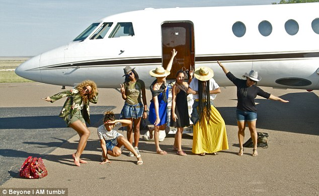 Party! Beyonce and her girls show off their tour outfits