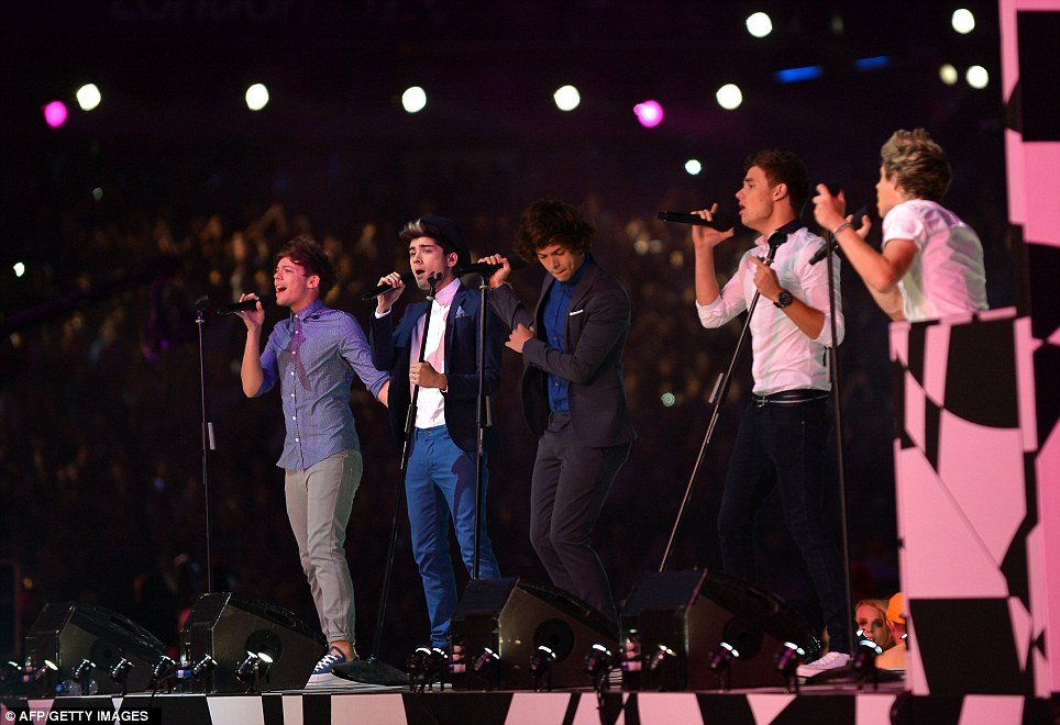 Boy band One Direction perform during the Olympic Closing Ceremony