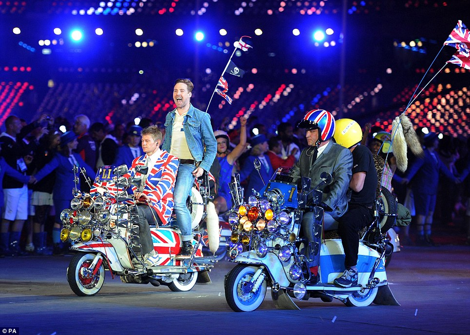 Mods: The Kaiser Chiefs perform The Who's Pinball Wizardon scooters during the Olympic Games Closing Ceremony