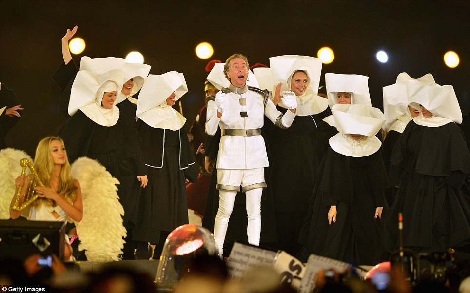 Comedy legend: Monty Python star Eric Idle appears at the Closing Ceremony to lead the audience through a singalong of his hit Always Look On The Bright Side of Life