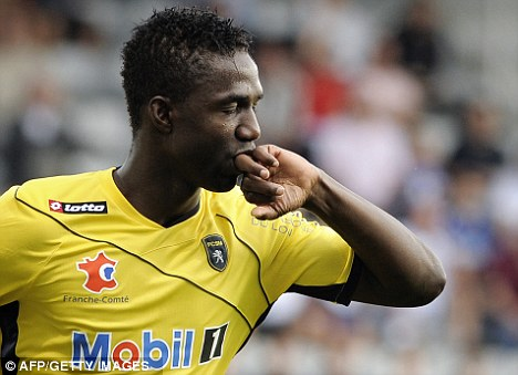 Maiga after scoring for Sochaux in a Ligue 1 match with Auxerre last season