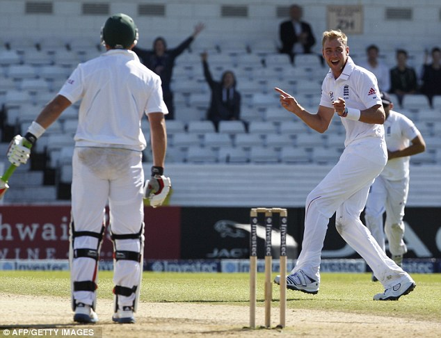 Back on song: Stuart Broad recorded figures of 5-69 for South Africa's second innings