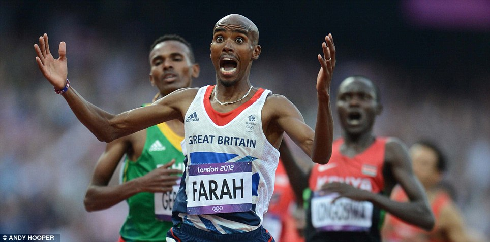 Doubling up: Andy Hooper snapped Mo Farah claiming his second gold of the Games in the 5,000m