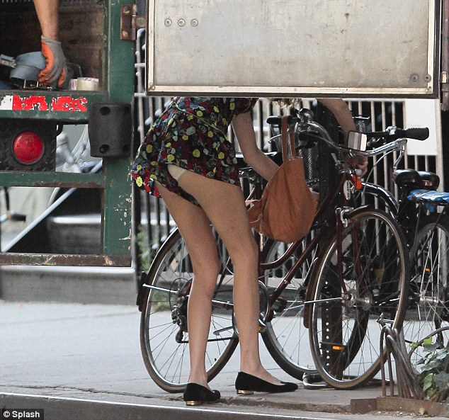 Not so stylish: The 28-year-old is known for her quirky style but may have regretted wearing this outfit