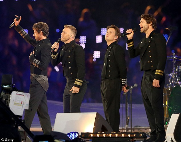 Brave man: Gary Barlow takes to the stage with Take That at the London 2012 Olympic Closing Ceremony